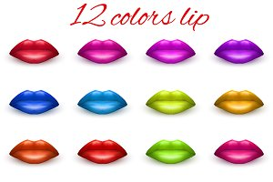 Set of 12 lips in different colors