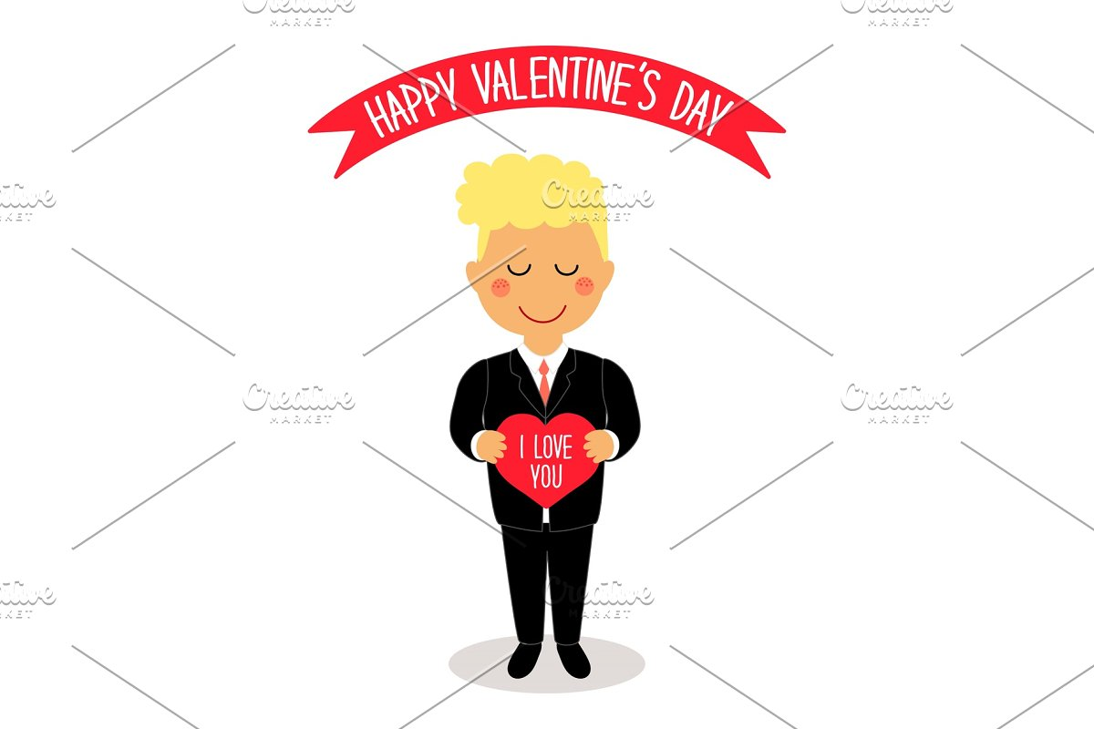 Save cute valentines day card with funny cartoon characters of loving boy