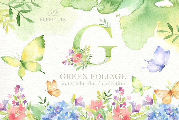 Green Foliage Watercolor Cliparts in Illustrations