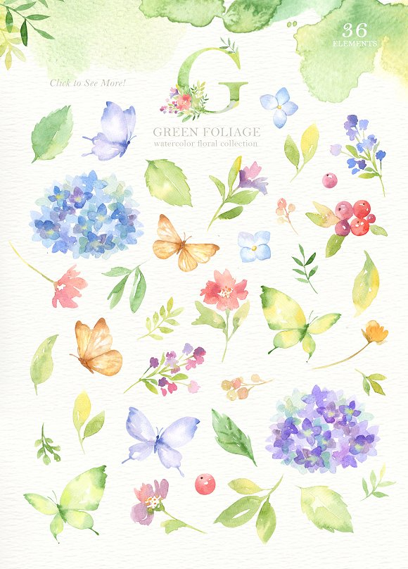 Green Foliage Watercolor Cliparts in Illustrations - product preview 1