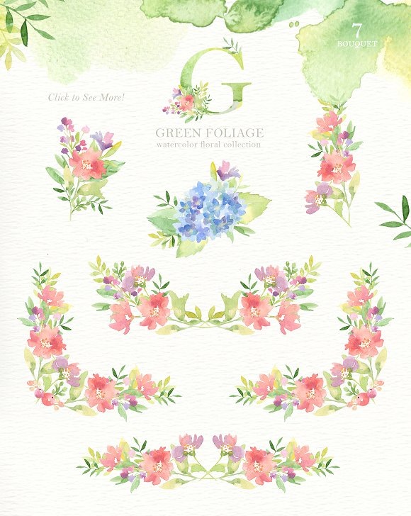 Green Foliage Watercolor Cliparts in Illustrations - product preview 2