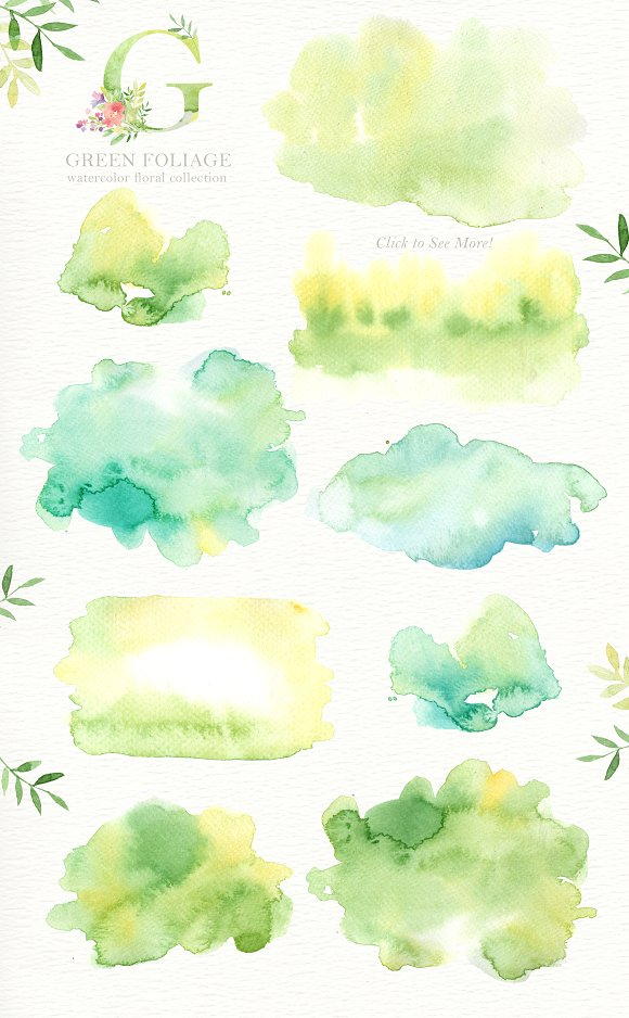 Green Foliage Watercolor Cliparts in Illustrations - product preview 3