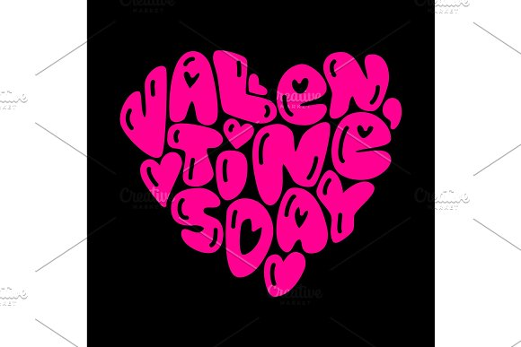 Cute fashion 80s style Happy Valentines Day typography lettering ...