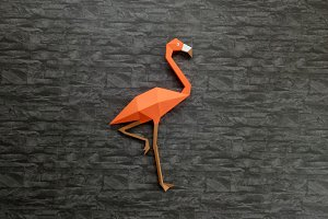 DIY Flamingo wall art -3d papercraft