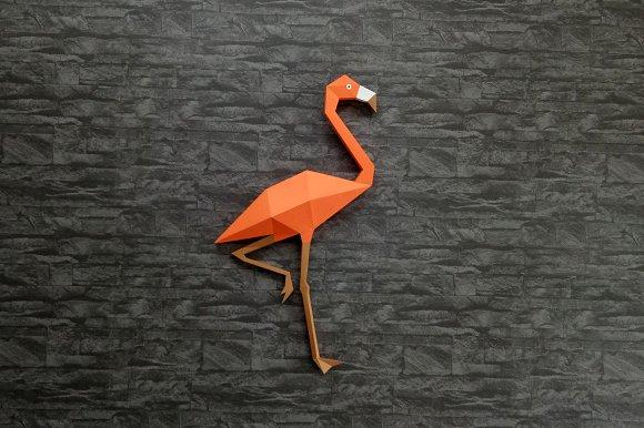 Diy flamingo wall art 3d papercraft templates creative market diy flamingo wall art 3d papercraft templates pronofoot35fo Images