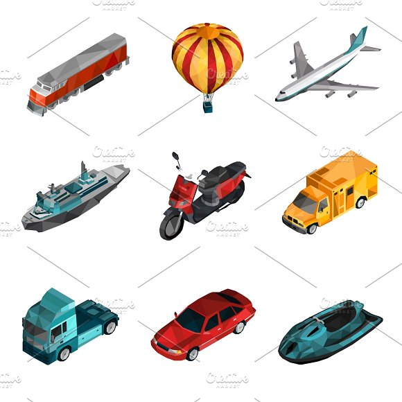 Transport isometric low poly icons