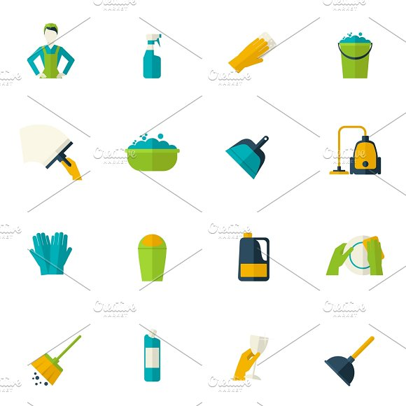 Cleaning icon flat set