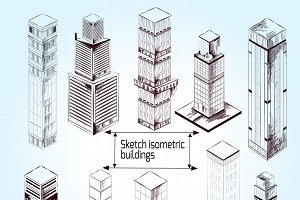 Sketch isometric buildings set