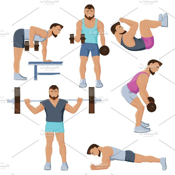 Fitness Male Characters Set
