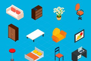 Isometric interior icons set