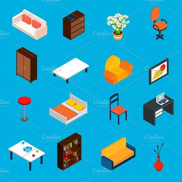 Isometric interior icons set