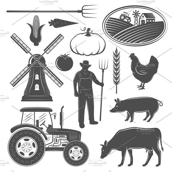 Farm Monochrome Elements Set
