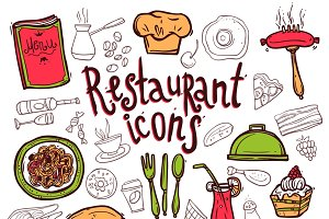 Restaurant icons doodle sketch