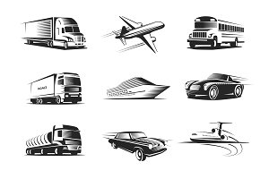 Vehicle Types Monochrome Symbols Set