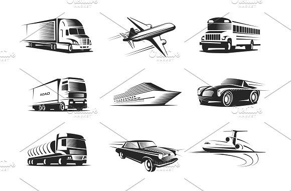Vehicle Types Monochrome Symbols Set