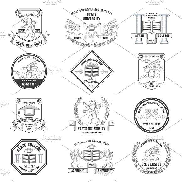 University Insignias Set