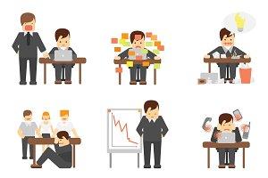 Stress at work flat icons set