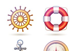 Marine decorative symbols set