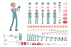 Male nurse in hospital uniform character creation set