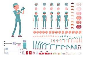 Male nurse in hospital uniform character creation set