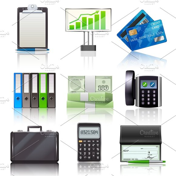 Business icons realistic set