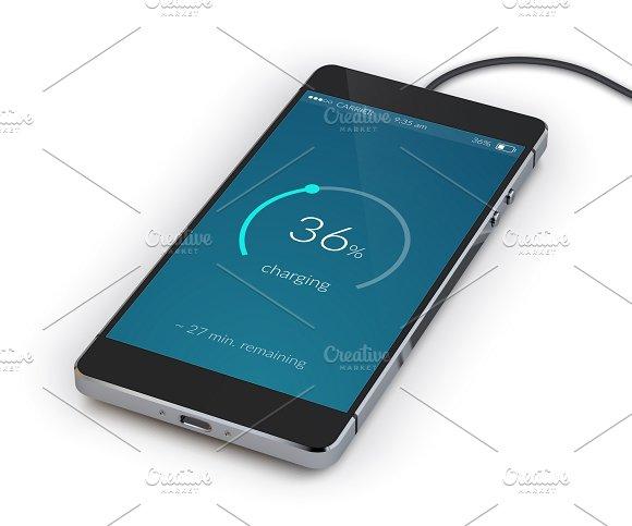Realistic charging smartphone