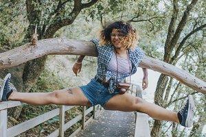 girl having fun for summer vacation trip