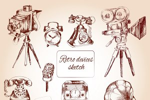 Retro devices icons sketch set