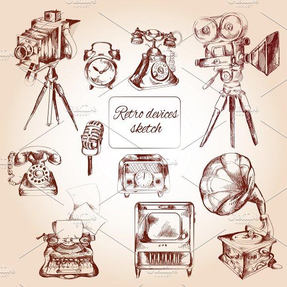 Retro devices icons sketch set