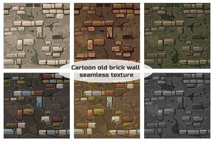 Vector Cartoon seamless pattern texture old crack brick wall