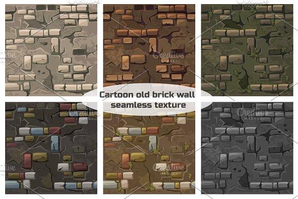 Vector Cartoon seamless pattern texture old crack brick wall
