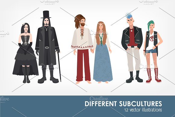 Set of different subculture people