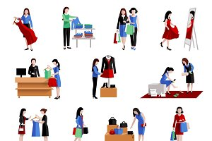Woman shopping icons set