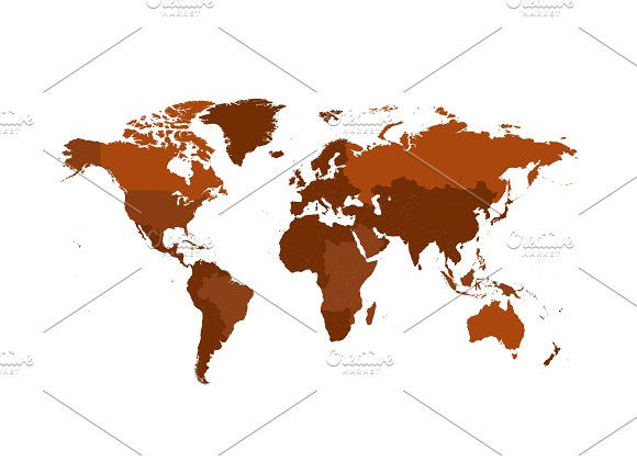 Isolated .PNG World map brown