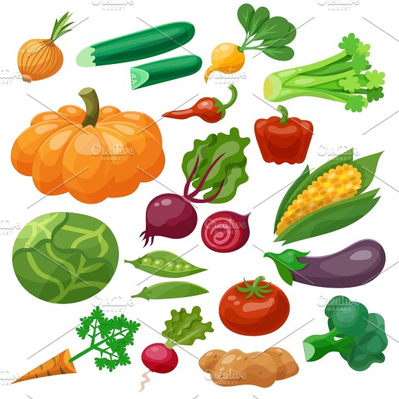 Vegetables icons set in Graphics