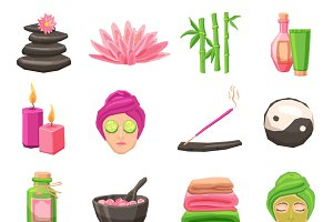 Spa and body therapy icons set