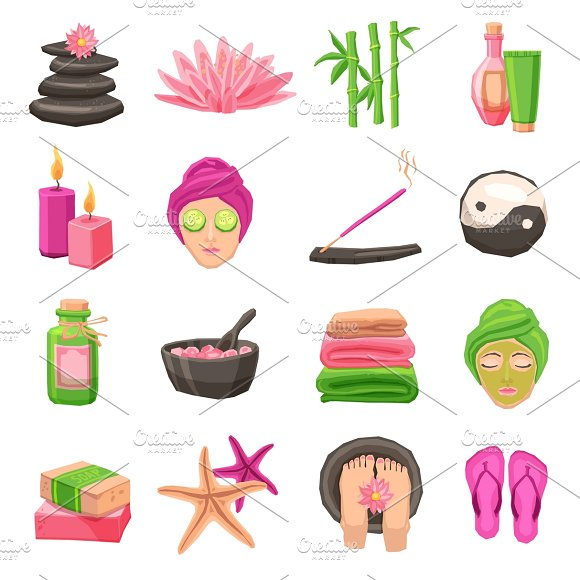 Spa and body therapy icons set in Graphics