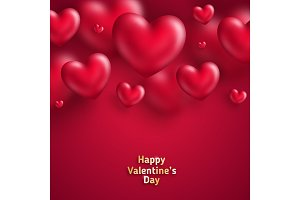 Valentine Day background with hearts on red