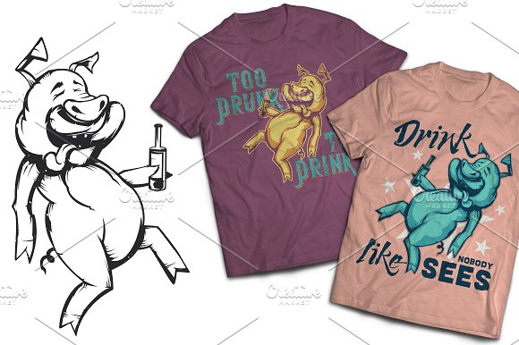 Drunk T-shirts And Poster Labels
