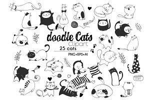 Doodle Cats HandDrawn vector clipart