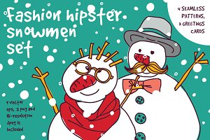 Fashion hipster snowmen set