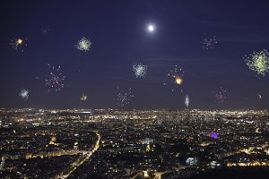 Full moon over paris with firework