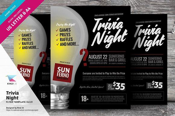 Trivia Night Flyer Template-Graphicriver中文最全的素材分享平台
