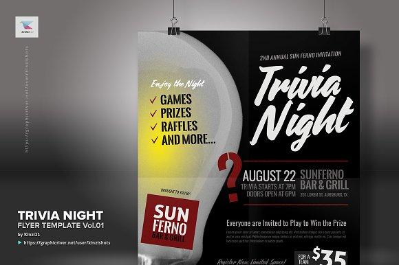 trivia night flyer template vol 01 flyer templates creative market