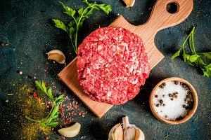 Raw burger cutlets