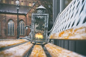 Lantern with a candle in the old town of Riga