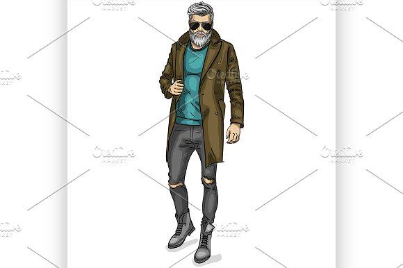 Vector man model dressed in Illustrations
