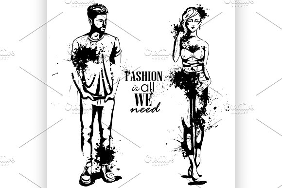 Vector woman and man fashion in Illustrations