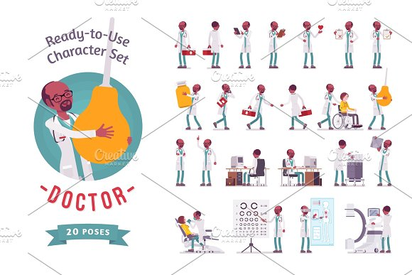 Male Doctor ready-to-use character set in Illustrations
