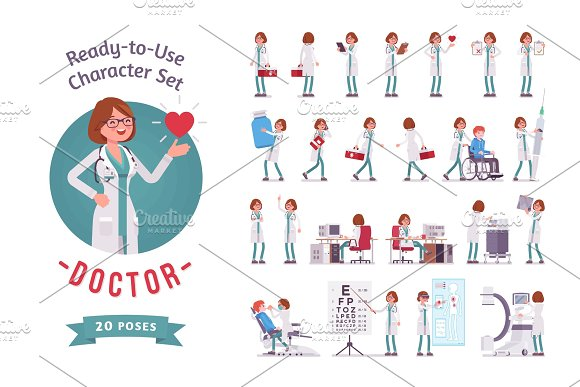 Female Doctor ready-to-use character set in Illustrations